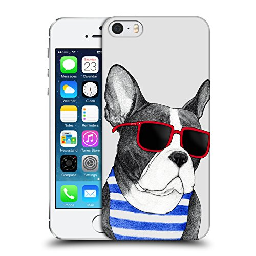 Head Case Designs Officially Licensed Barruf Frenchie Summer Style Dogs Hard Back Case Compatible with Apple iPhone 5 / iPhone 5s / iPhone SE 2016