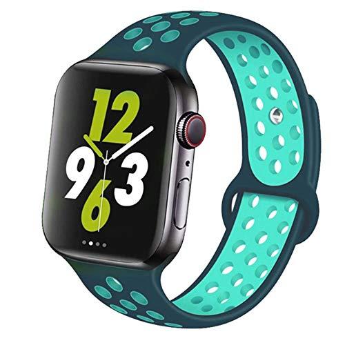 AIXIXI Correa Deportiva para Apple Watch Band 44Mm 42Mm para Iwatch Band 40Mm 38Mm Pulsera De Silicona Correa para Apple Watch 5 4 3, China, TurquesaVerde 52