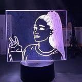 Ariana Grande cantante luz de noche LED decoración del hogar presentación de diapositivas batería USB luz led de color 3d regalo de cumpleaños para niños-7 colores sin control remoto
