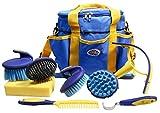 Derby Premium Comfort 9 Item Horse Grooming Kit (Blue/Yellow)
