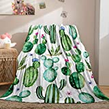 Green Cactus Blanket Plants Flannel Fleece Throw Blanket Green Cactus Flowers Printed Soft Cozy Blanket for Sofa Chair Bed Office (Twin (60'x80'), Cactus)