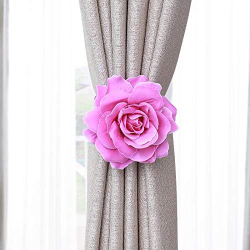 cortinas baño flores rosas rojas