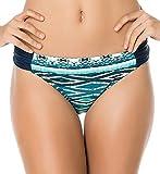 Jessica Simpson Diamond Daze Side Shirred Hipster Bikini Bottom (Small, Blue/Multi)