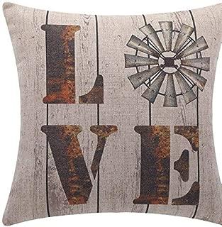 Dozili Love Vintage Windmill Pillow Cover Vintage Pillow Cover Windmills Country Pillow Covers Farmhouse Style Fun Decorative Pillows