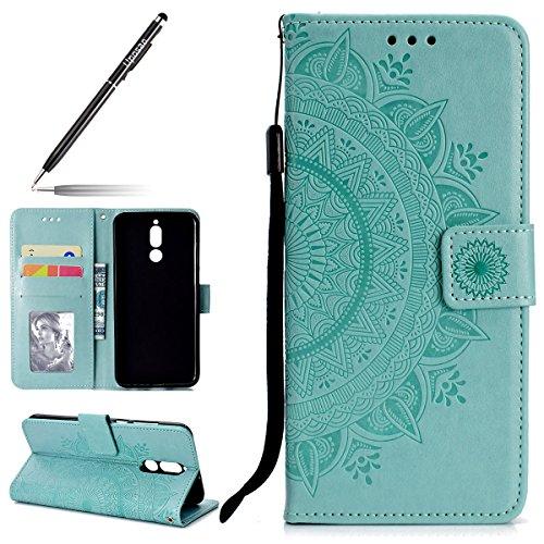 Uposao Kompatibel mit Huawei Mate 10 Lite Handy Schutzhülle Vintage Lederhülle Ledertasche Dünn Leder Handy Tasche Klapphülle Flip Cover mit Standfunktion Karteneinschub,Grün