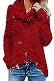UMIPUBO Jerseys De Punto para Mujer Pullover Jersey Cuello de Tortuga Manga Larga Suelto Prendas de Punto Suéter Irregular Jerséis Collar de la Pila Tops Cálido Otoño Invierno (Rojo, M)