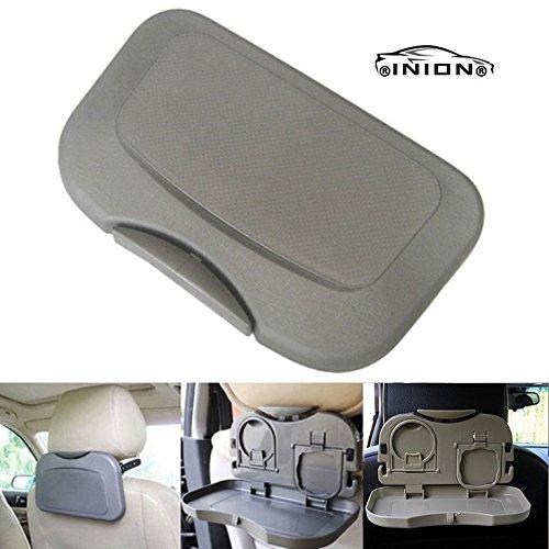 INION 1x Tisch für Autorücksitz GRAU - KLAPPTISCH & MEHRZWECKTISCH - Spieltisch - Esstisch Ausklappbar für Getränke und Mahlzeiten im Auto (1x Rücksitztisch GRAU)