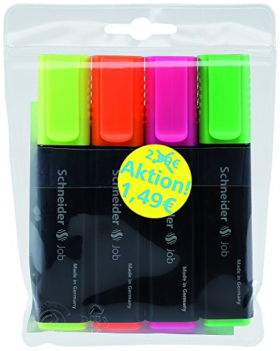 Schneider Schreibgeräte Textmarker Job, nachfüllbar, sortiert, 4er Etui (gelb, orange, rosa, grün)