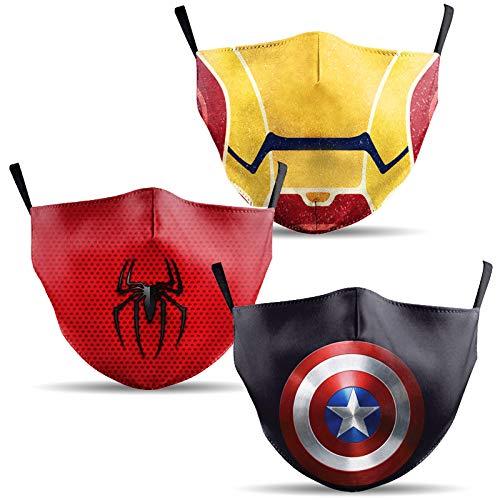 Mundschutz Maske mit Motiv Superhelden – 3er Baumwoll Masken bunt, lustig, komisch – für Männer, Frauen & Kinder