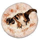IEUUMLER Warm Kuschelbett Katzenkörbchen Katzenbett Kuschelhöhle Schlafsack für Katzen Kätzchen und Hund IE119 (Diameter:50cm, Gradual Orange)