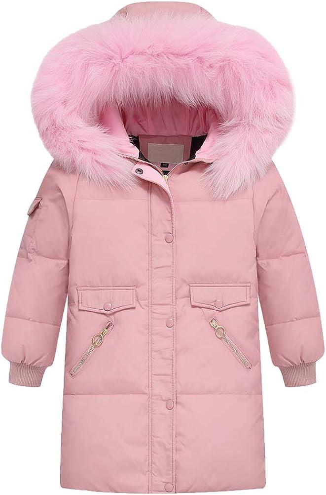 Mallimoda Girls' Winter Coats Hooded Puffer Jacket Long Parka Down Coat