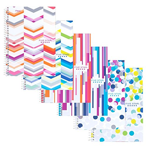 Five Star Spiral Notebook, 2 Subject, College Ruled Paper, 100 Sheets, 9-1/2' x 6' Sheet Size, Assorted Colors, 6 Pack (73231)