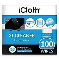 iCloth 特大モニターとTVスクリーンクリーナー プログレード 個別包装ウェットワイプ 1ワイプで複数のフラットスクリーンテレビとモニターをきれいに 100ワイプ。