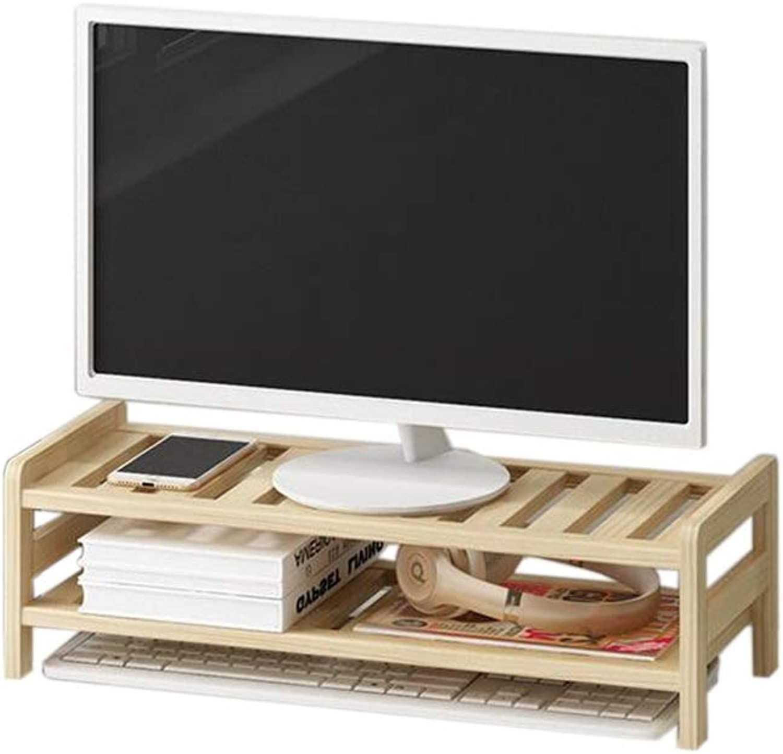 JCAFA Shelves Desktop Monitor Heightening Wood Desk Organizer Desktop Organizer Office Storage Rack Base Bracket, 2 Layer (color   Wood, Size   20.07  7.87  5.90in)