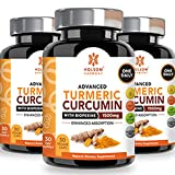 Turmeric Curcumin with Bioperine 1650mg Advanced Formula ONE Daily, Joint Pain Relief & Anti Inflammatory Supplement with Black Pepper for Best Absorption.Non-GMO,Natural,Made in USA,90 Pills