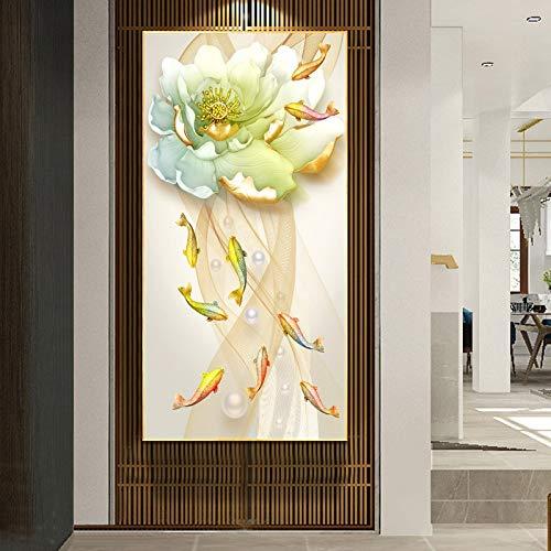 DIY 5D Diamond Painting by Number Kits Large Size Lotus Goldfish Full Drill Rhinestone Embroidery Cross Stitch Mosaic Diamond Art Craft Home Wall Decor Qn3804-Round Drill,40x100cm