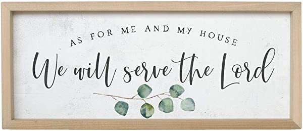 Simply Said INC Farmhouse Frames 10 X 24 Sign As For Me And My House We Will Serve The Lord