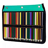 54 Slots Pencil Sleeve - 3 Ring Loose-Leaf Binder Pencil Pouch Stationery Organizer for Colored Pencils, Pens by YOUSHARES (Green)
