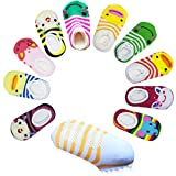 CXP Good Goods 10 pairs Anti Slip Skid Ankle Cotton Baby Walker Girls Toddler Cute Stripes Socks for 6 - 18 Months Baby