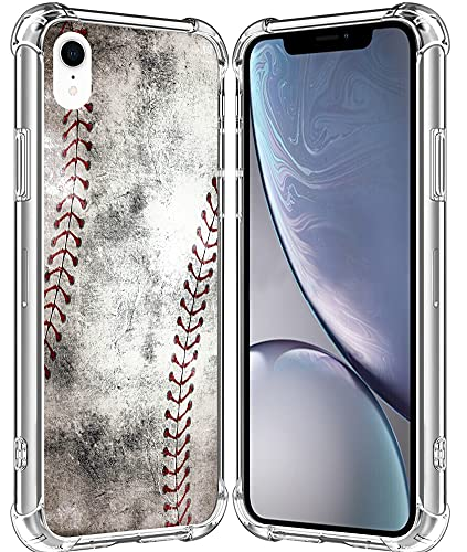 XR Case/IWONE Cute Rubber Durable Protective Skin Cover Patterned Compatible with iPhone XR[10R] 2018 6.1 Inches Creative Vintage Baseball Art Printing