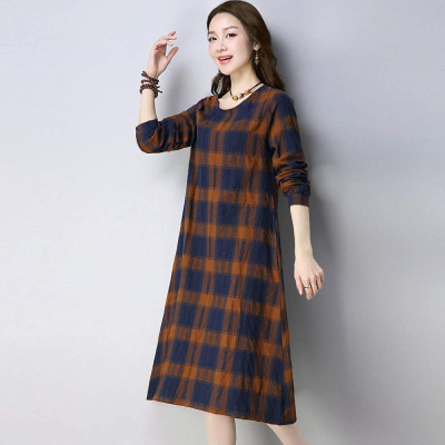 Cxlyq Dresses Large Size ALine Skirt in Long Section Long Sleeve Cotton and Linen Dress