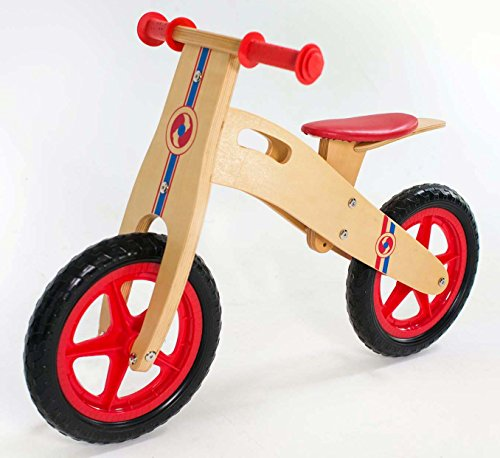 RICCO Wooden Balance Bike with EVA Wheels for 3-6 Year Olds (WOODEN RED)