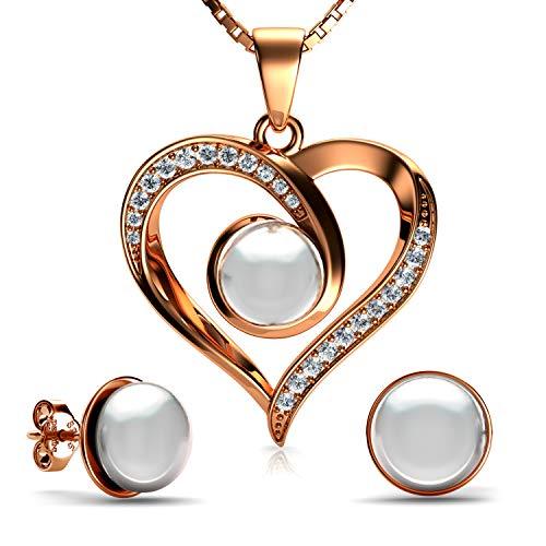 DEPHINI - Juego de collar y pendientes de corazón con perlas rosadas – plata de ley 925 chapada en oro – Pendientes y colgante de cristal CZ – Cadena de plata chapada en rodio de 45,72 cm