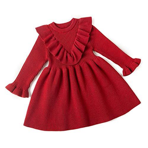 Curipeer Toddler Girl Dresses Newborn for Fall Casual Ruffled Dress Designer Red 2 T