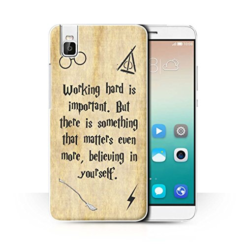 Hülle Für Huawei Honor 7i/ShotX Schule der Magie Film Zitate Working Hard/Believe Design Transparent Ultra Dünn Klar Hart Schutz Handyhülle Hülle