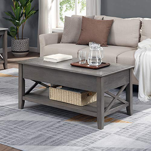 FirsTime & Co. Driftwood Allendale Farmhouse Lift Top Coffee Table, Gray Wood, 39 x 19 x 21.5 inches