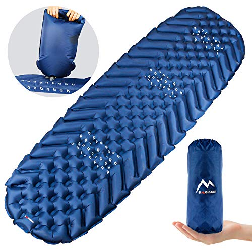 BAGLOBAL Camping Sleeping Pad for Adults, Self Inflating Camping Mat with Inflated Bag and Two-Way Valve, Lightweight, Anti-Slip & Waterproof Best Sleeping Mat for Backpacking Hiking Tent (Blue)