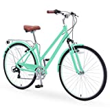 sixthreezero Pave n' Trail Women's 7-Speed Hybrid Bike, 700c Wheels/ 17' Frame, Mint Green with Brown Seat and Grips