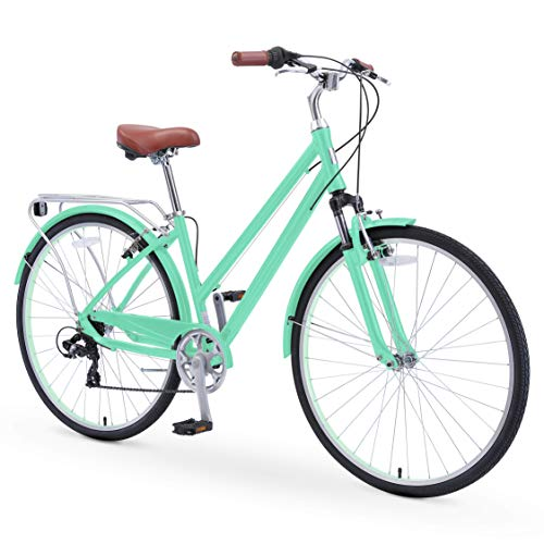 sixthreezero Pave n' Trail Women's 7-Speed Hybrid Bike, 700c Wheels/ 17' Frame, Mint Green with Brown Seat and Grips, One Size
