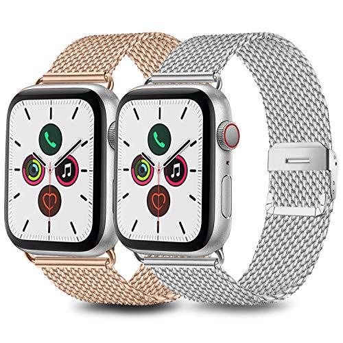 Mugust 2 Pack Kompatibel für Apple Watch Armband 42mm 44mm 38mm 40mm, Metall Edelstahl Ersatz Armband Kompatibel mit iWatch Series 5/4/3/2/1 (03 Silber/Roségold, 38mm/40mm)
