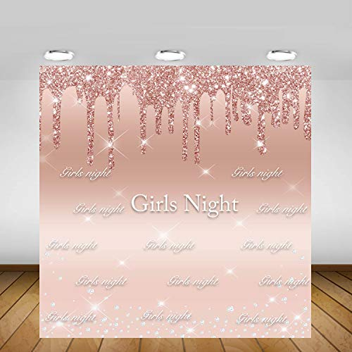 Mocsicka Girls Night Backdrop Dripping Rose Gold Diamonds Girl