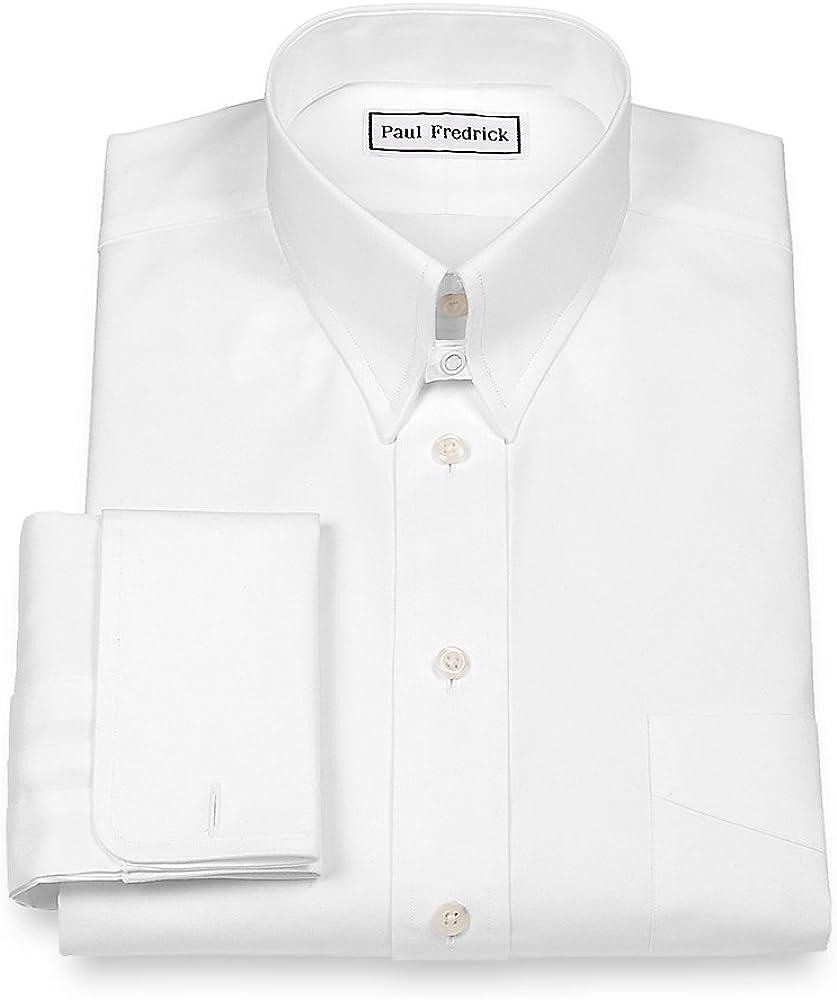 Paul Fredrick Men's Pinpoint Snap Tab Collar French Cuff Dress Shirt