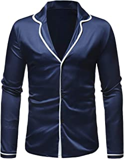 Mens Autumn Winter Casual Fashion Satin Long Sleeve Pajama Top Shirt Suit Blouse