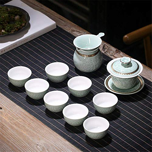 FACAIA Tea Sets for Afternoon Tea with Teapot, Ceramic Kung Fu Tea Cup Set Exquisite Porcelain Tea Ware Teapot Teacups Tea For Home Office Use Gift