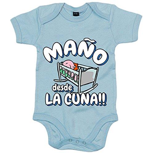 Body bebé Maño desde la cuna del Zaragoza para aficionado al fútbol - Celeste, Talla única 12 meses