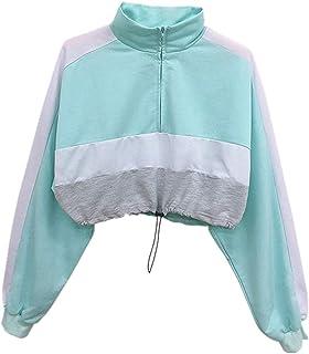 Yczx Womens Sweatshirts Long Sleeve Stylish Color Block Casual Crop Sweatshirt Short Tops Lightweight Pullovers T-Shirts L...