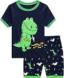 Little Hand Toddler Boys Short Sleeve Pajama Shorts Green Boy Cute Pjs Sets Summer Dinosaur Shirts & Pants 3 4 T