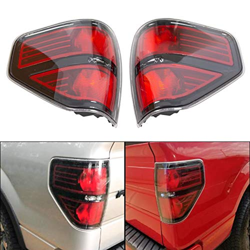 ECOTRIC Tail Light Rear Brake Lamp Left & Right Side w/Black Trim Red Lens Housing Compatible with 2009-2014 Ford F150 F-150 Pickup Styleside Replacement for FO2818143, FO2819143 (Without Bulbs)