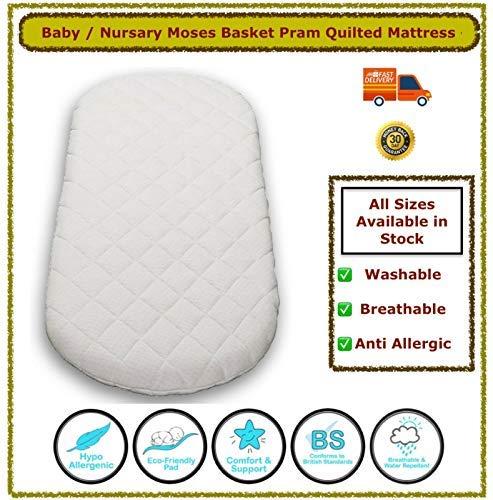 Pram and Moses Basket Mattress – Super Soft & Dry Effect HQ Foam Mattress| Breathable | Hypoallergenic | Size 70 x 35 x 04 cm