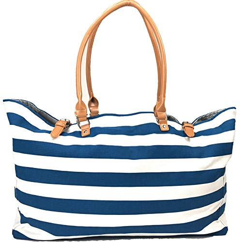 KEHO Fashion Beach Bag (Cute Travel Tote), Large and Roomy, Waterproof Lining, Multiple Pockets For Storage (Blue/White Stripes)
