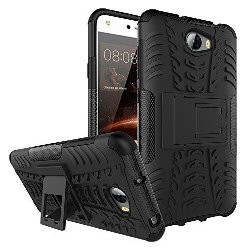 QiongniAN Funda para Huawei Y6 II Compact,Teléfono con Soporte a Prueba de Golpes Funda para Huawei Y6II Compact LYO-L21 LYO-L01 / Y6 II Compact Carcasa Case Funda Black