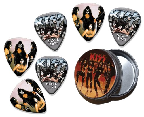 Kiss Set of 6 Double Sided Loose Chitarra Plettro Plettri Picks in Tin