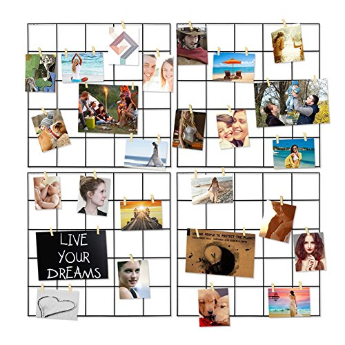 Ecjiuyi 4 Pcs Multifunction Metal Mesh Wire Grid Panel with 30 Clips,Wall Decor/Photo Wall/Ins Art Display & Organizer for Room & Office (Black)