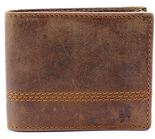 Starhide Mens RFID Luxury Soft Brown Leather Wallet Secure Zip Coin Pocket 1100