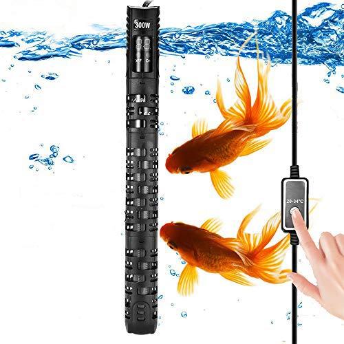ALLOMN Calentador Acuario, Calentador Termostato para Acuarios Calentador Agua del Tanque de Peces, 20-34 °C Temperatura Ajustable con Ventosa Protectora para Acuario 50-350L (300W 120-250L)