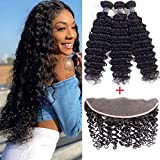 Amella Hair Brazilian Deep Wave with Lace Frontal Ear to Ear 13x4 Closure with Bundles 8A 100% Unprocessed Virgin Human Hair Bundles Free Frontal Black Color (12 14 16+10 frontal)